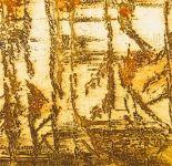 Bambous brun et rouge - Dominique Martigne - 15x15 cm - 2016