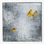 Les montgolfières jaunes - monotype 10x10 cm - Dominique Martig
