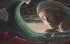 Apprivoiser la vague (étude) Acrylique sur bois