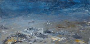 Tempête bleue - Acrylique et pigments sur toile -30x75 - 2008