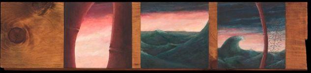 Mer et Bambous - Acrylique sur planche - 16 x 74 - 2004